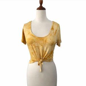 Heart & Hips Yellow Tie Dye Knot Front Crop Top